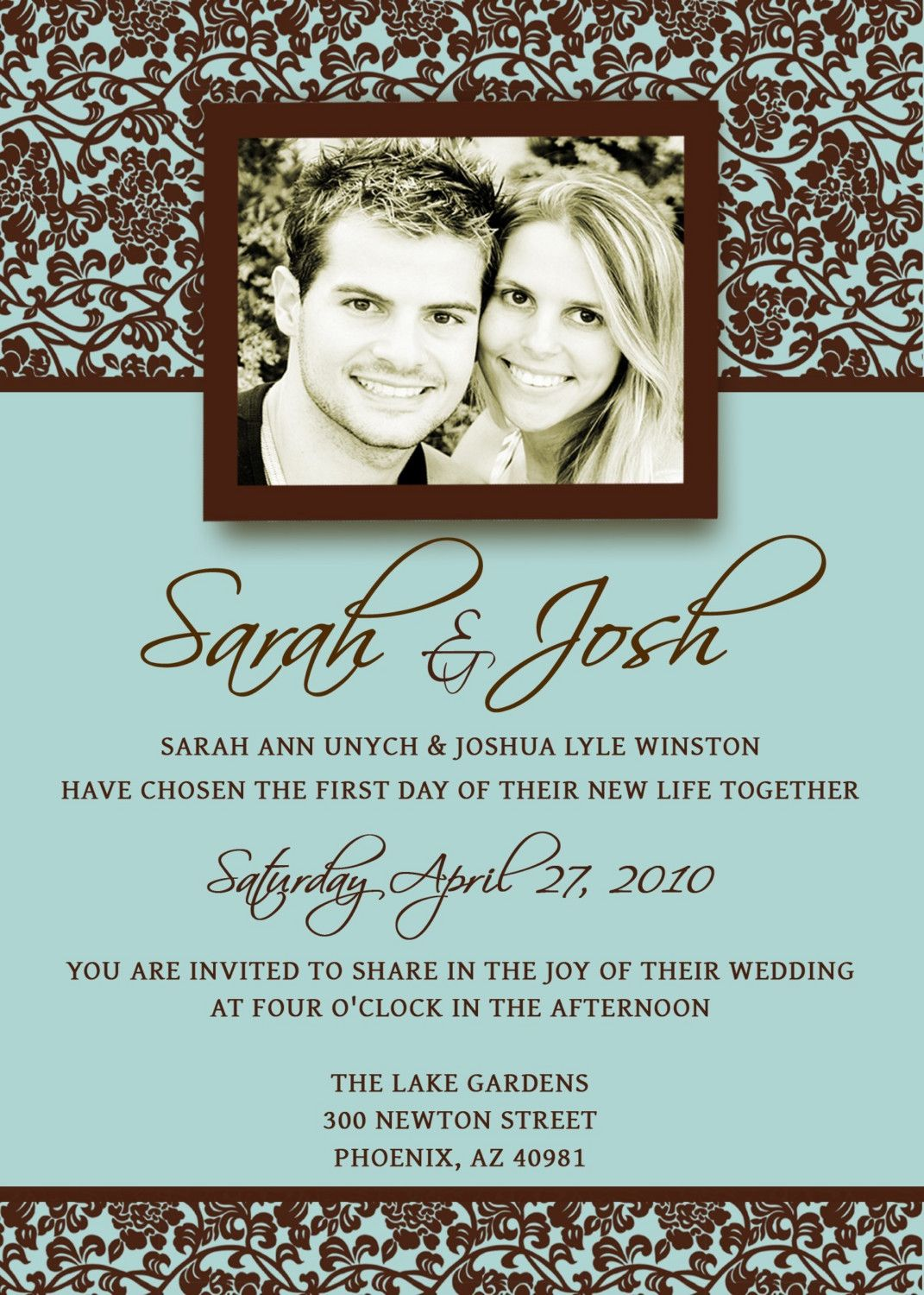 Wedding Invitation Template PSD Photoshop - Damask - FABULOUS