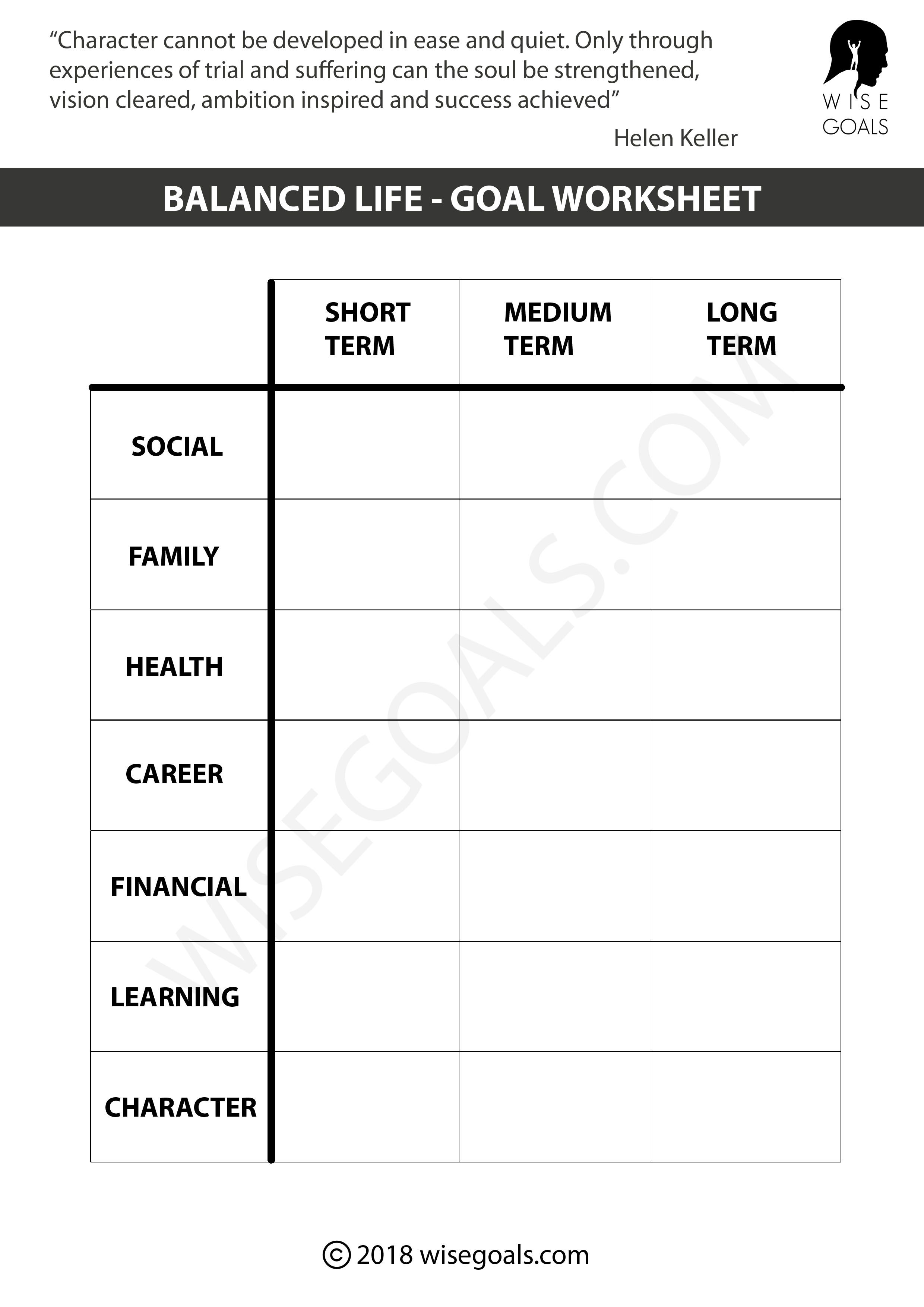 Top Quality Personal Goal Setting Worksheets Printable Pdf