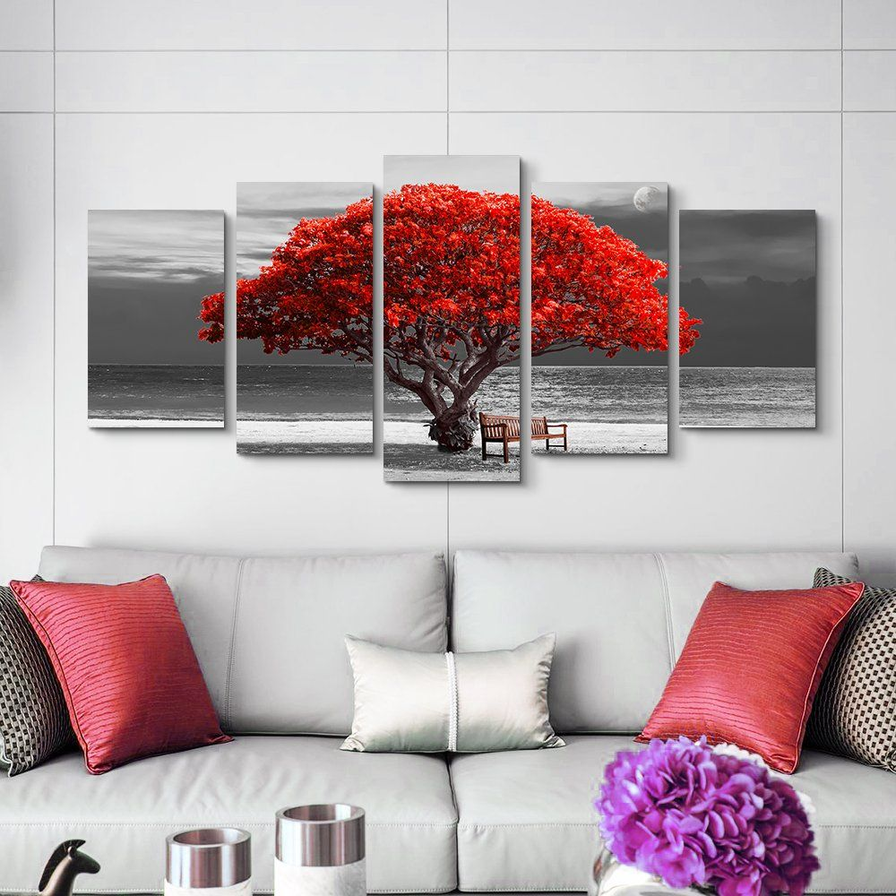 5 Piece Canvas Wall Art For Living Room Decorations Photo Prints Black And White Red Tree The Scenery Moon Landscap Living Room Art Red Tree Living Room Decor