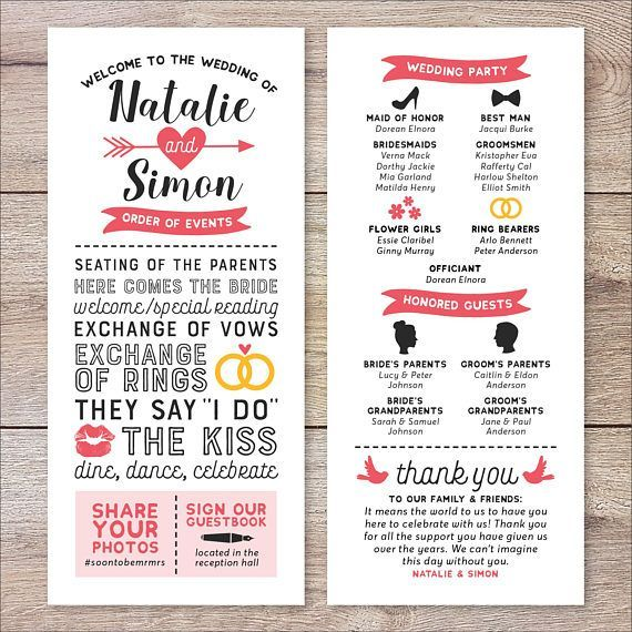 Wedding Punch Ideas: Infographic Wedding Program, Fun Wedding Program