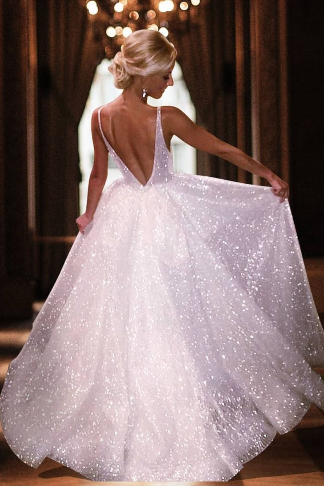 Sparkly Ball Gown V Back Long Prom Evening Dress White Prom Dress Sparkly Dress Prom Dresses [ 1620 x 1080 Pixel ]
