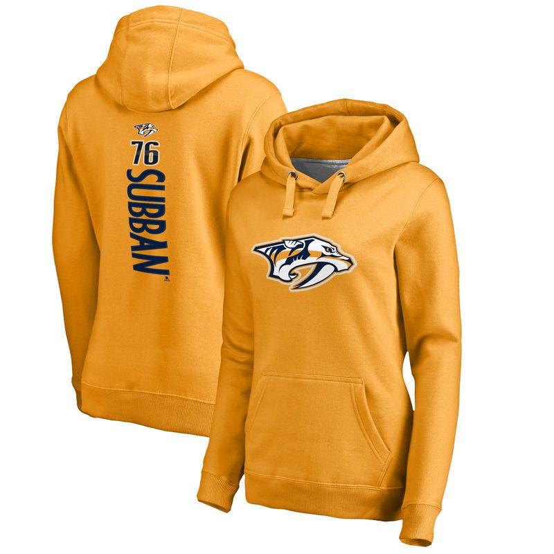 531d5f0a1 PK Subban Nashville Predators Fanatics Branded Women s Backer Pullover  Hoodie - Gold