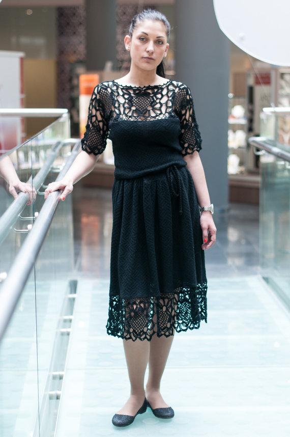 5949120ae96 Crochet black dress Knitted Black dress Crocheted Little Black Dress  Handmade Viscose Evening Dress Trendy Openwork Garment Lacy Midi Dress