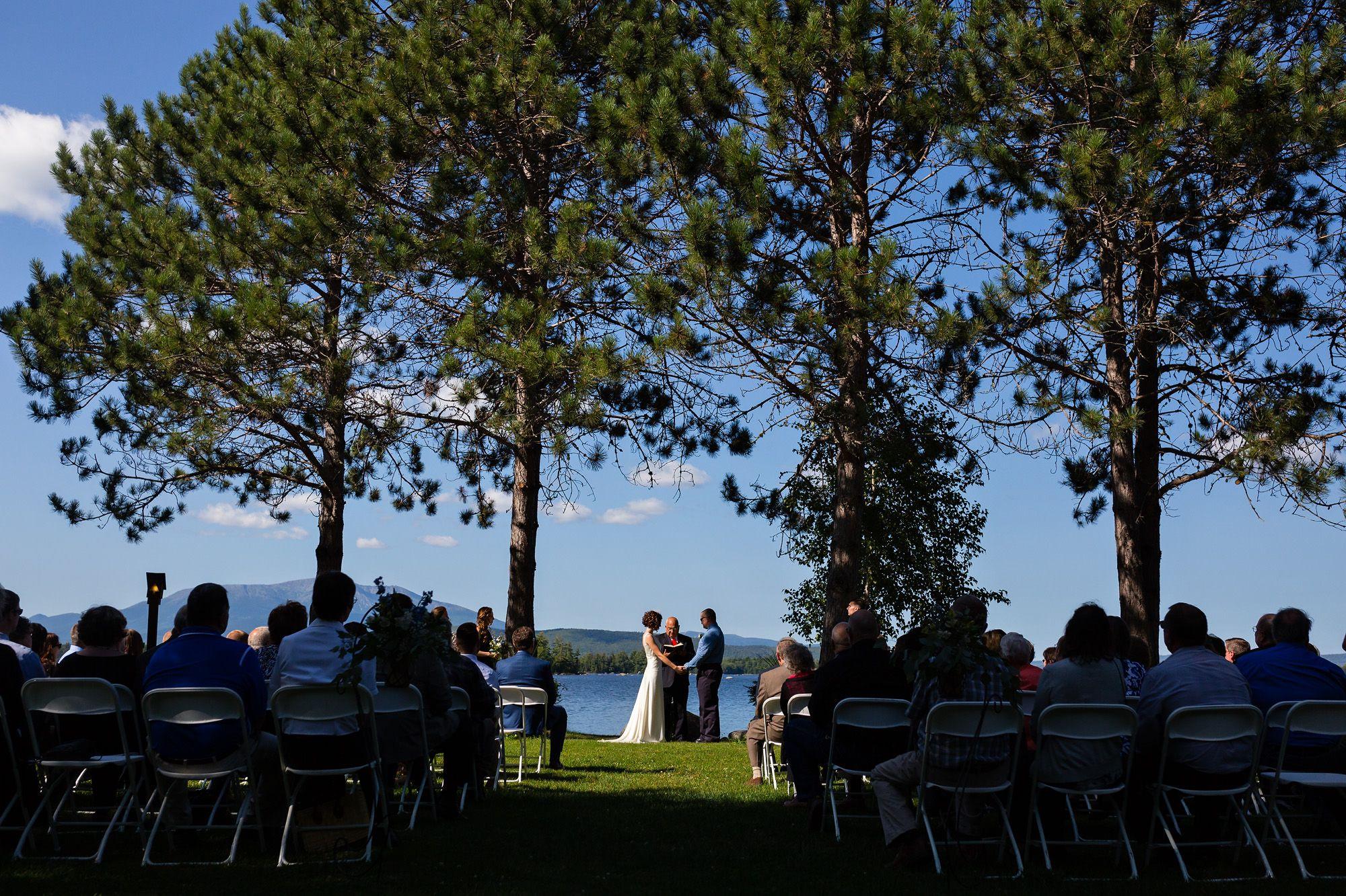 A bride and groom at their wedding near Katahdin, Maine