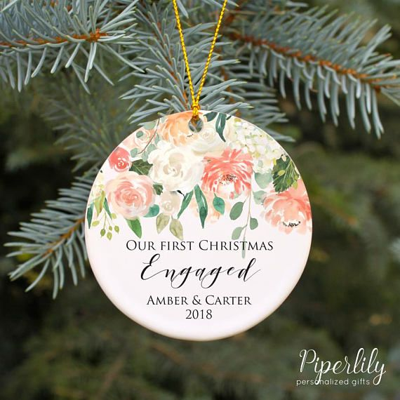 Engagement Gift Our First Christmas Engaged Ornament Personalized ...