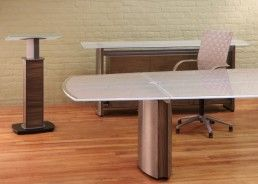 Modern Conference Room Furniture, Credenzas, Lecterns And Podiums With  White Frosted Glass Conference Table