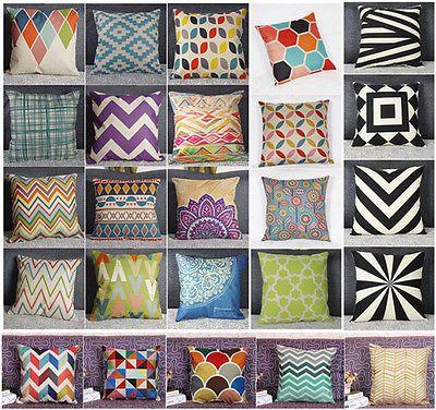 Cotton Linen Home Decor Throw Pillow Case Cushion Cover Geometry Nature in Home & Garden,Home Décor,Pillows   eBay