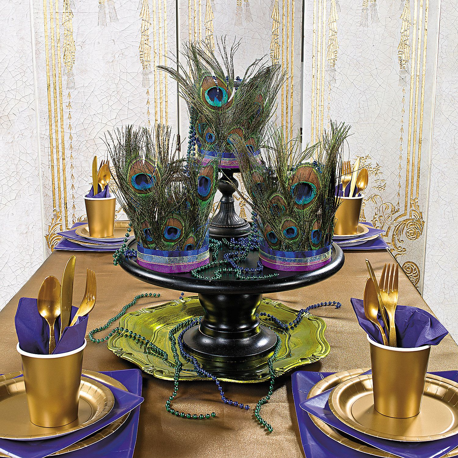 Party Decorations Table Centerpieces: How To- Peacock+Feather+Centerpieces+-+OrientalTrading.com