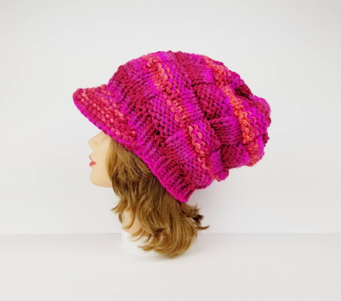 Newsboy Hat Visor Beanie Hat Chunky Knit Hat Women S Etsy Knitted Hats Chunky Knit Hat Visor Beanie