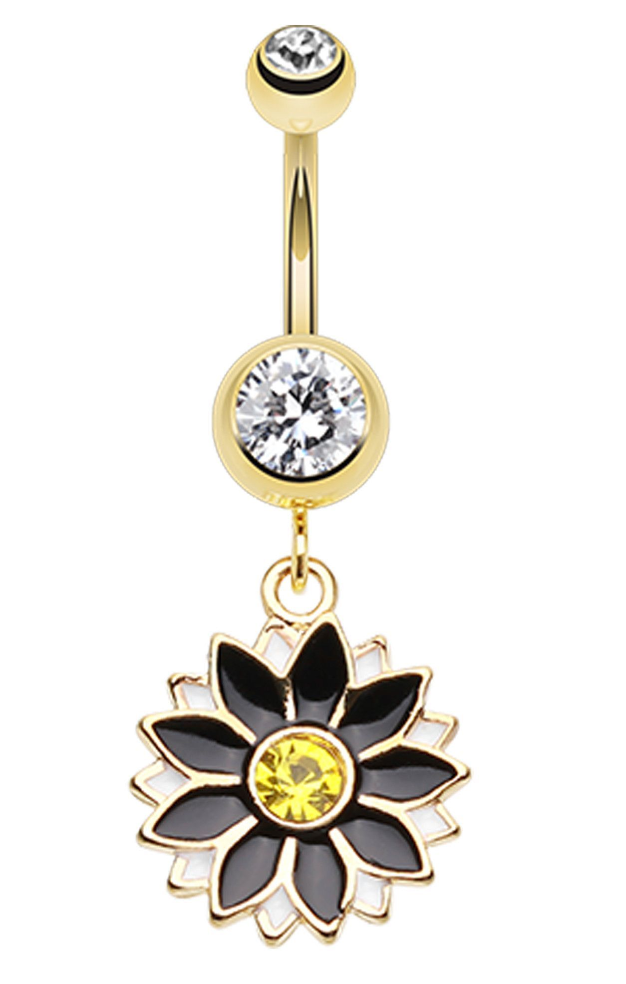Golden Colored Daisy Blossom Flower Belly Button Ring  Golden color