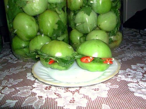 на зиму зеленые помидоры с фото