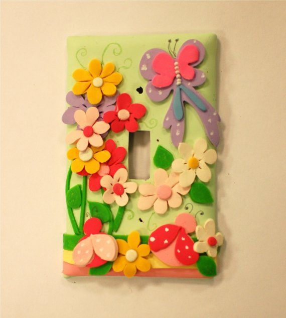 Butterfly and Lady Bug Polymer Clay Light Switch by claygi on Etsy ...
