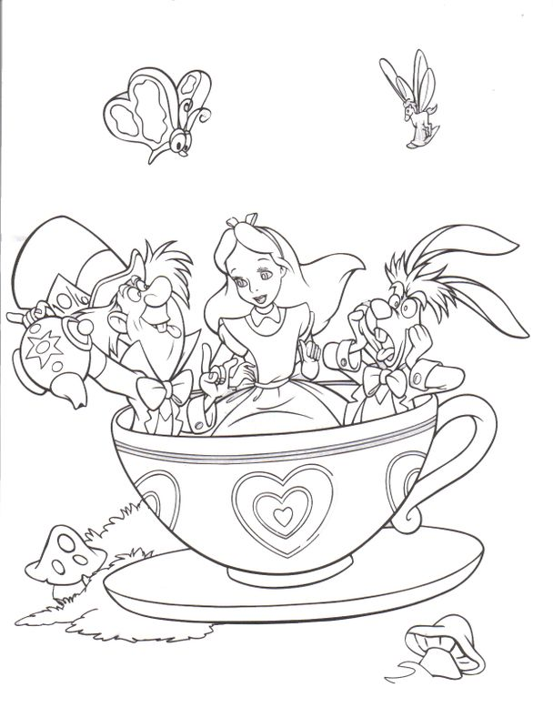 alice in wonderland disney coloring page lowrider car pictures - Princess Tea Party Coloring Pages