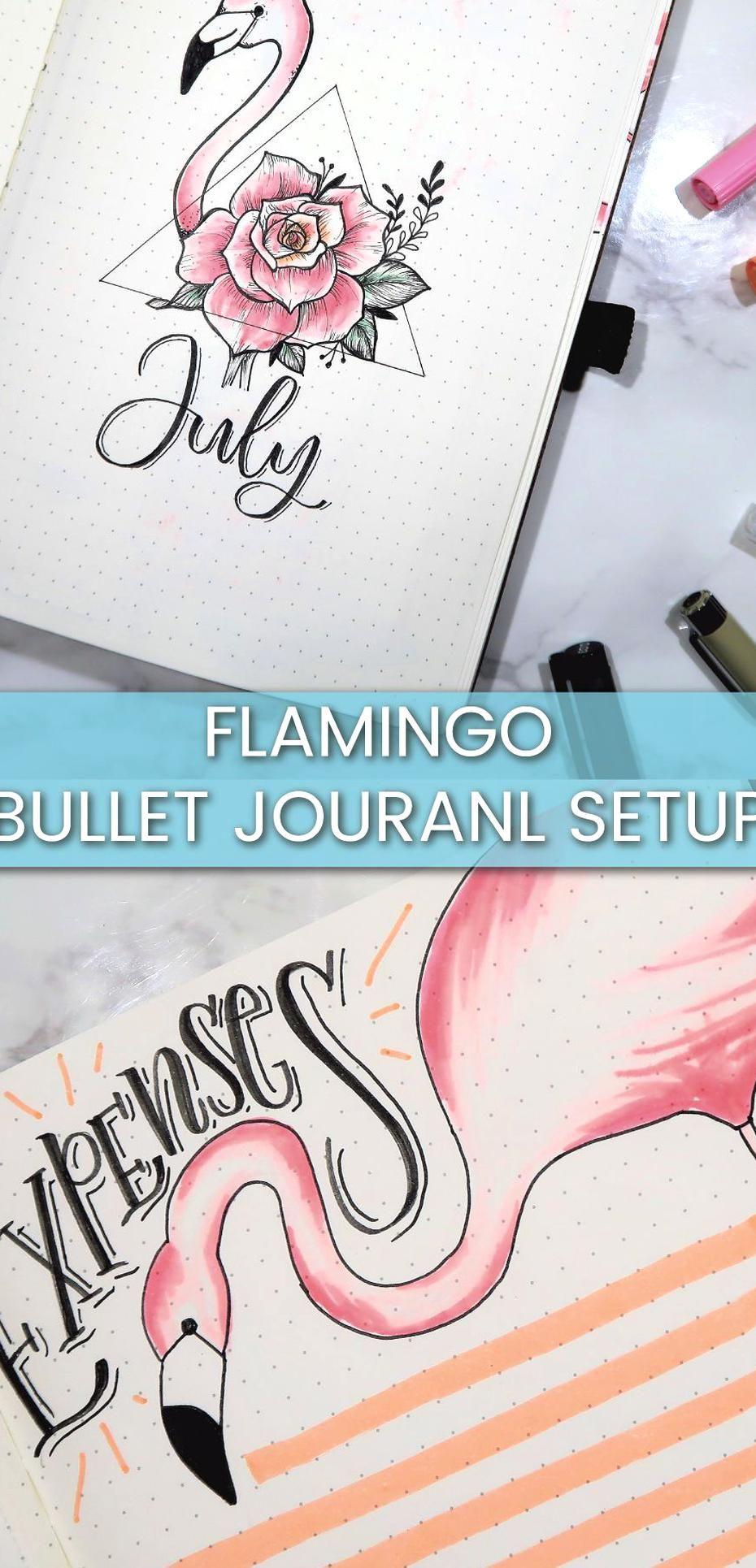 AMAZING flamingo bullet journal setup! #flamingo #bullet journal