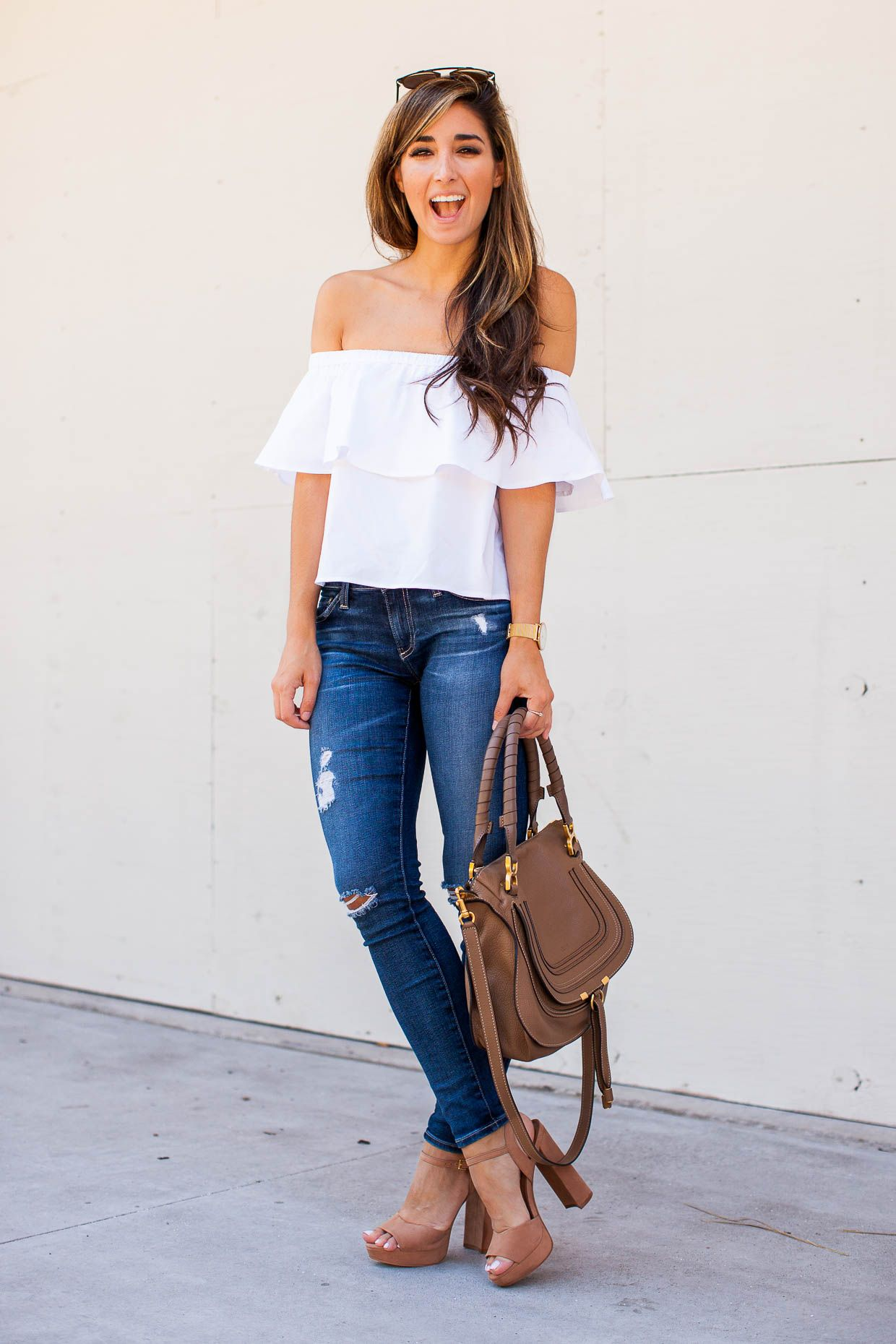 "1ff408c1b7da1f Fashion Blogger The Darling Detail wearing a white Topshop Poplin Bardot  Top with AG ""The Legging"" Ankle Jeans and Steve Madden ""Kierra"" Platform  Sandals."