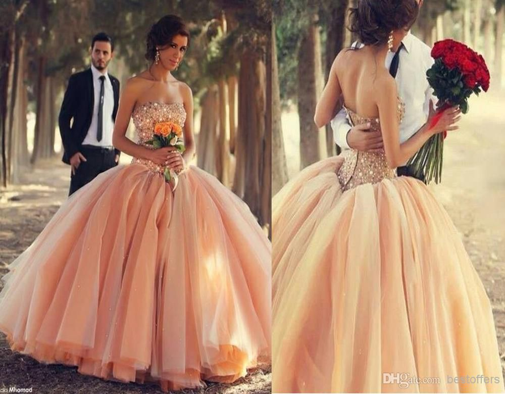 Peach sexy wedding dresses ball gowns 2016strapless with rhinestones wholesale ball gown wedding dresses buy peach wedding dress with sweetheart neck beads and crystals bodice over rich layers tulle skirt pink blush junglespirit Choice Image