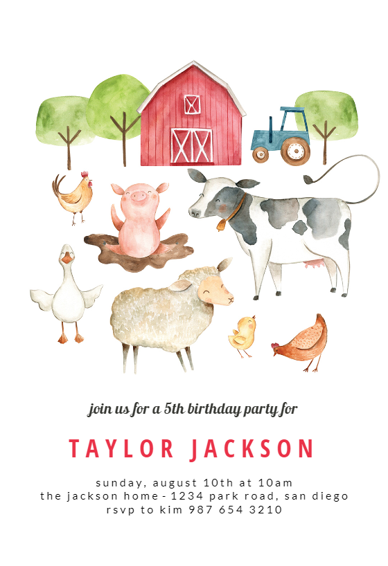 PRINTED invitations or PRINTABLE Cute Watercolor Baby Farm Animal 1st or 2nd birthday invitation for boys or girls