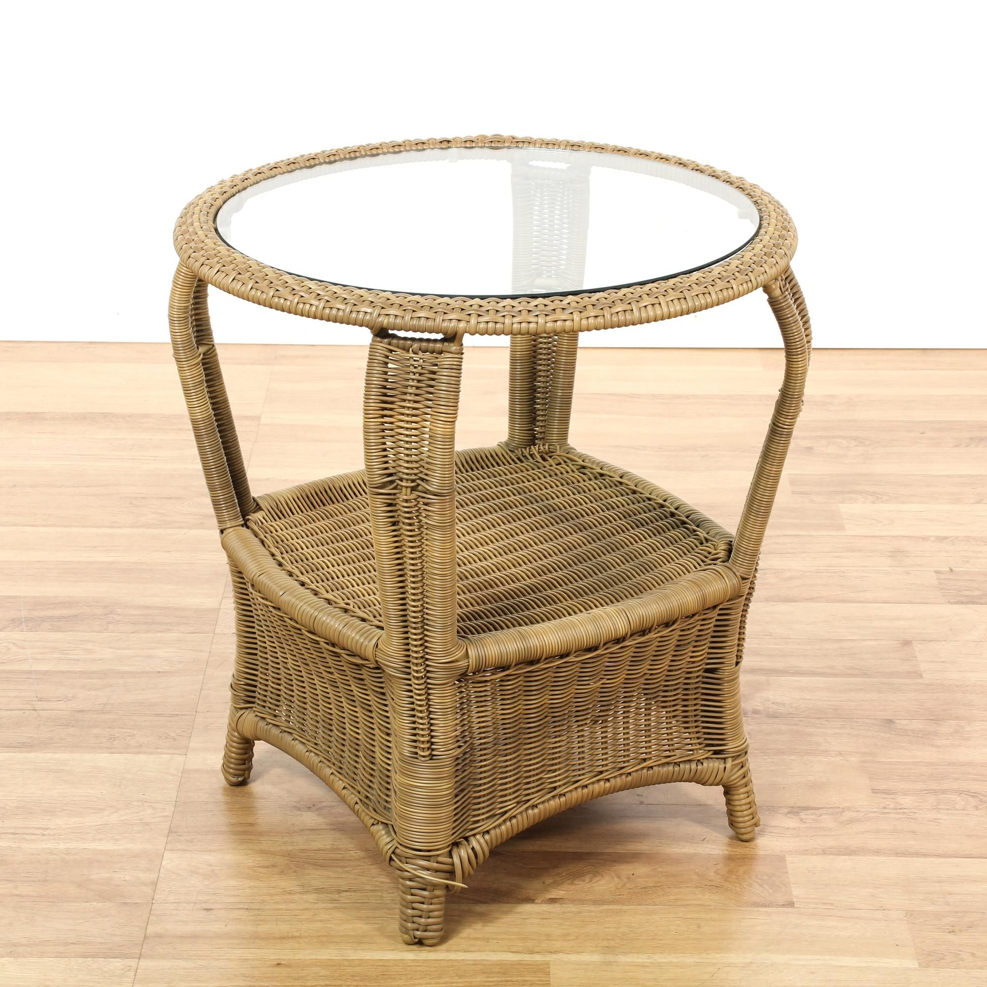 Round Glass Top Wicker End Table 3