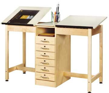 Two Station Drafting Table W Drawer Base By Shain