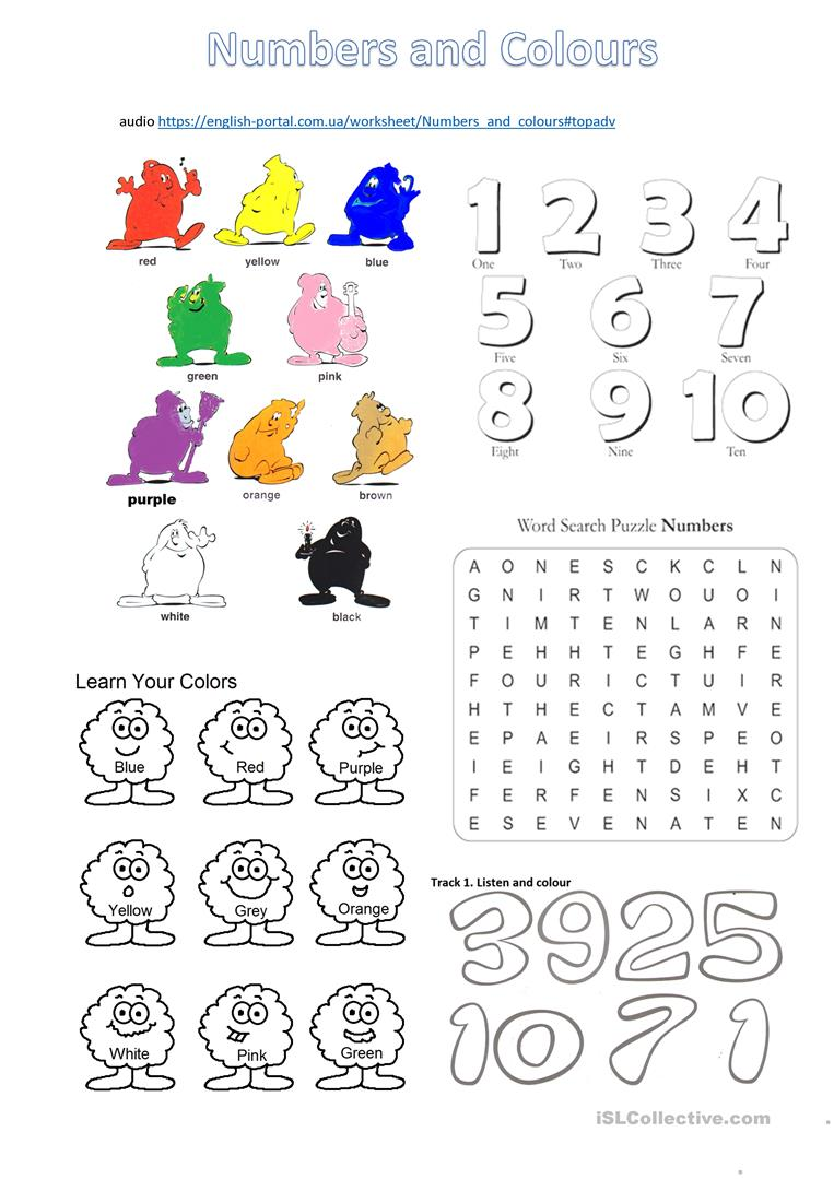 Numbers And Colours Worksheet With Listening Tasks English Esl Worksheets For Distance Learning And Physical Classro Color Worksheets Colours Learning Colors [ 1079 x 763 Pixel ]