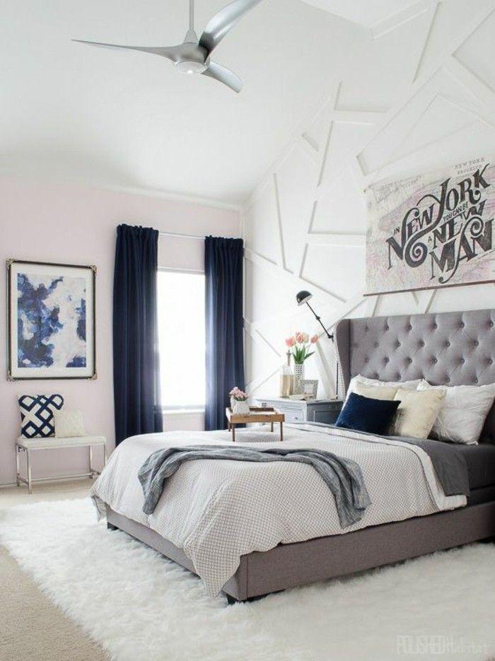 Gestaltung Schlafzimmer Blaue Gardinen Graues Bett Weisser Teppich