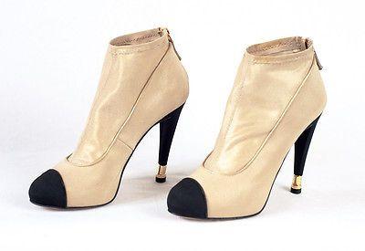 NEW Chanel Booties 37.5/US7 Beige Heels Shoes CC Logo Leather Boots Pump  https://t.co/YTOB4MLp82 https://t.co/wUAzS1bIrE