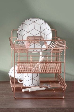 2 Tier Dish Drainer In 2020 Dish Drainers Rose Gold