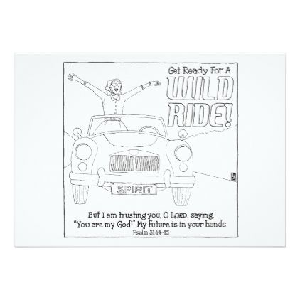 Wild Ride Scripture Coloring Postcard  Invitations Personalize