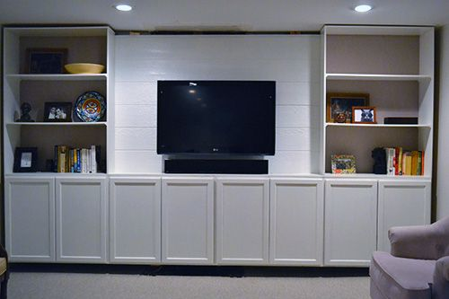 Diy Built In Bookcase With Linen Backing Living Space