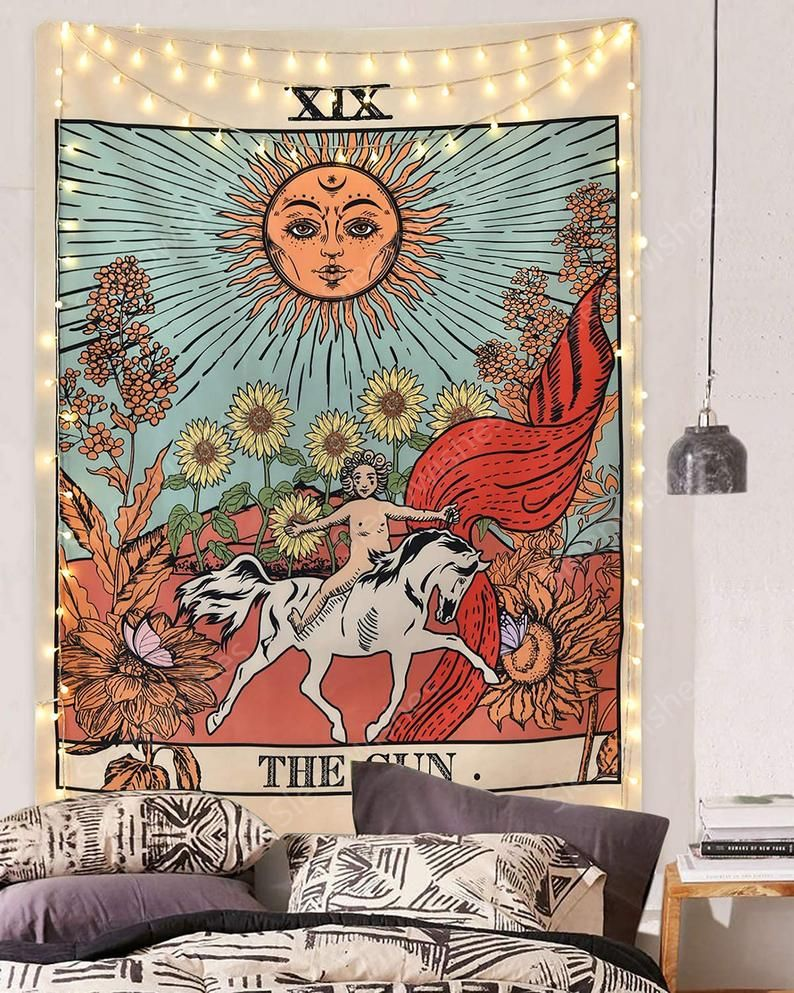 Tarot tapestry sun tapestry wall hanging mysterious