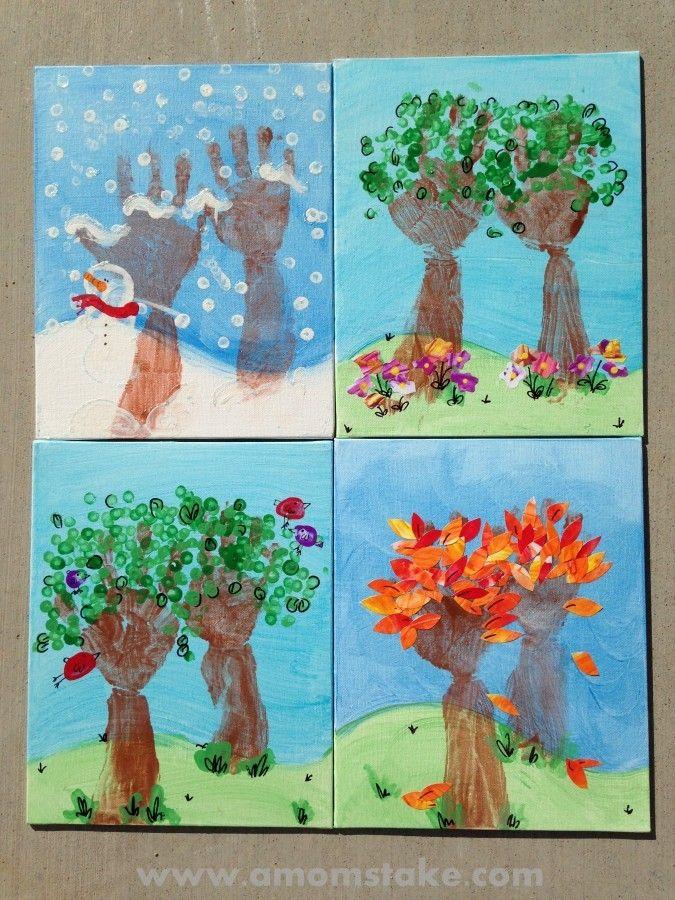 Calendar Handprint Art : Seasons of love handprint art giveaway