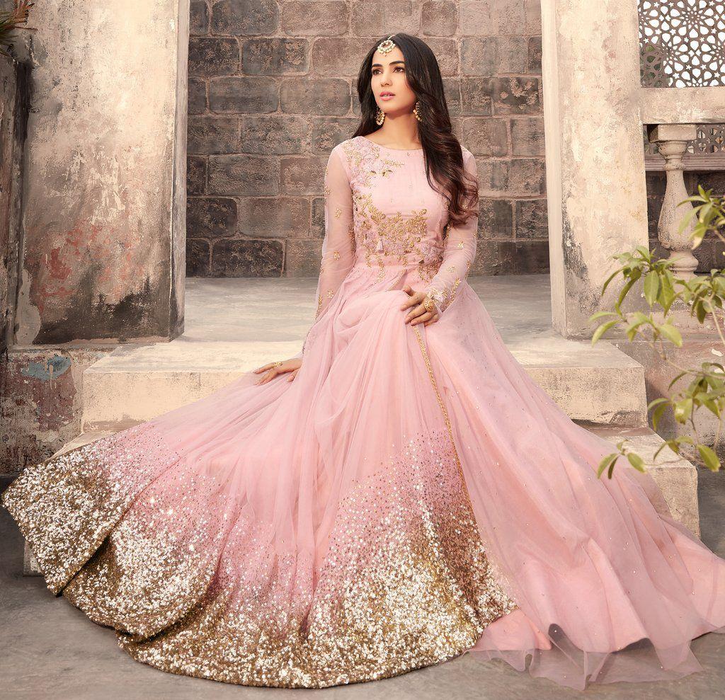 Light Pink Designer Embroidered Net Anarkali Suit Bridal