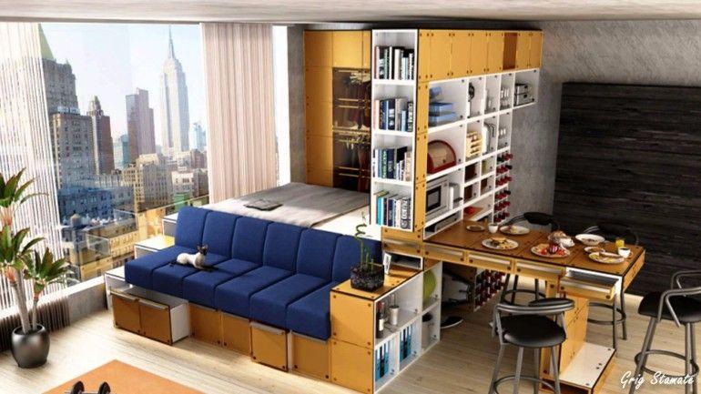 Very organized New York studio apartment | www.masterbedroomideas.eu #tinybedroom #studiobedroom #smallbedroomdecor #smallbedroom #bedroomideas