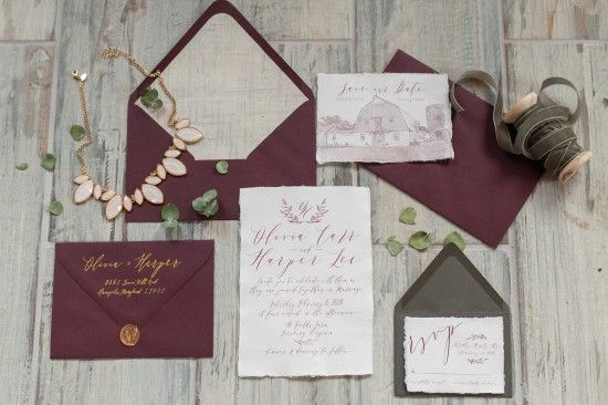 marsala wedding, pantone wedding inspiration, burgundy wedding, slate gray wedding, calligraphy wedding, calligraphy inspiration, wedding invitation, wedding invite, winter weddin, 48 fields weddin, grey and red wedding, invitation suite, scripted invite