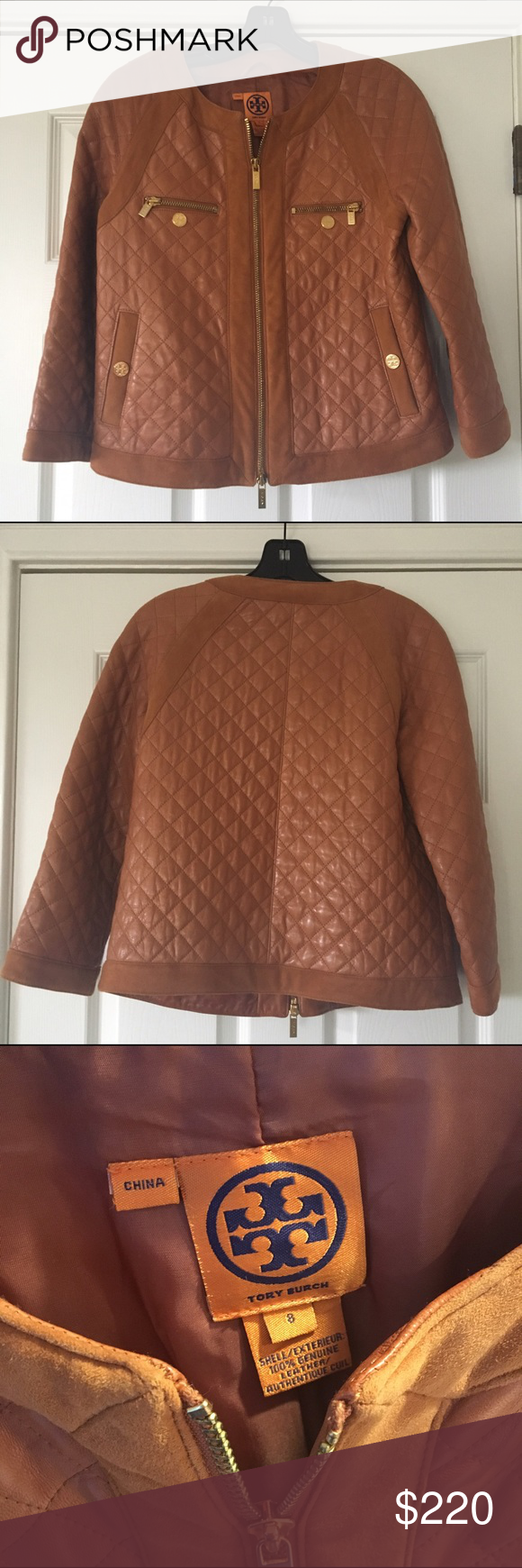 Tory Burch leather Cluny camel brown Jacket 8 Tory Burch Cluny jacket in excellent condition. Like new. Worn once. Gold hardware is a little tarnished on chest pocket but hardly noticeable. Size 8 Tory Burch Jackets & Coats