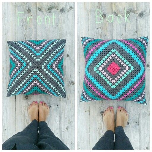 Crochet pillow granny square. No weird shaping, just seamed in a ...