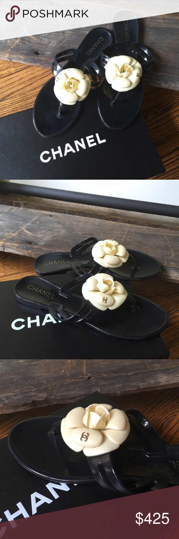 Authentic Chanel sandals Authentic Chanel camelia sandals.in black with cream camellias, tiny gold cc logo on one of the petals.  They are in great condiction, only been worn a handful of times. Very little use. Size 38. Rubber. Made in Italy. Chanel is forever.. CHANEL Shoes