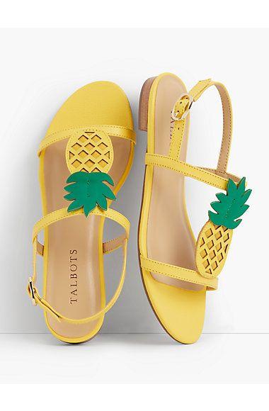 08053ec20 Keri Pineapple T-Strap Sandals - Talbots