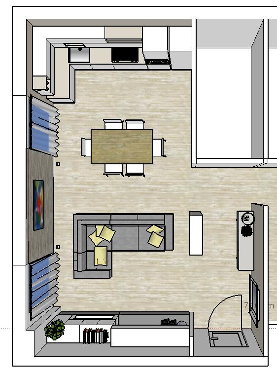 Progetto living con cucina e tanti desideri mayday casa for Disposizione soggiorno