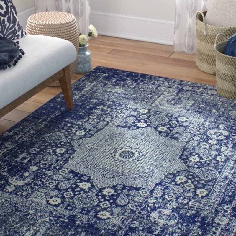 Riggs Distressed Dark Blue Area Rug Dark Blue Rug Blue Rug