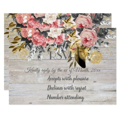 Rustic and romantic vintage floral wedding collect card floral