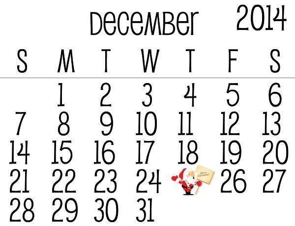 Christmas 2014 Calendar Maker and Printable Template