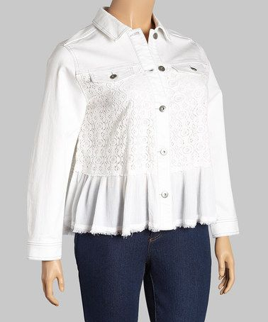 35d2537893d52 This White Lace-Panel Denim Jacket - Plus by BACCINI is perfect!   zulilyfinds
