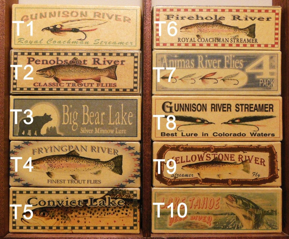 Four fly fishing lure boxes of your favorite trout stream for Fly fishing decor