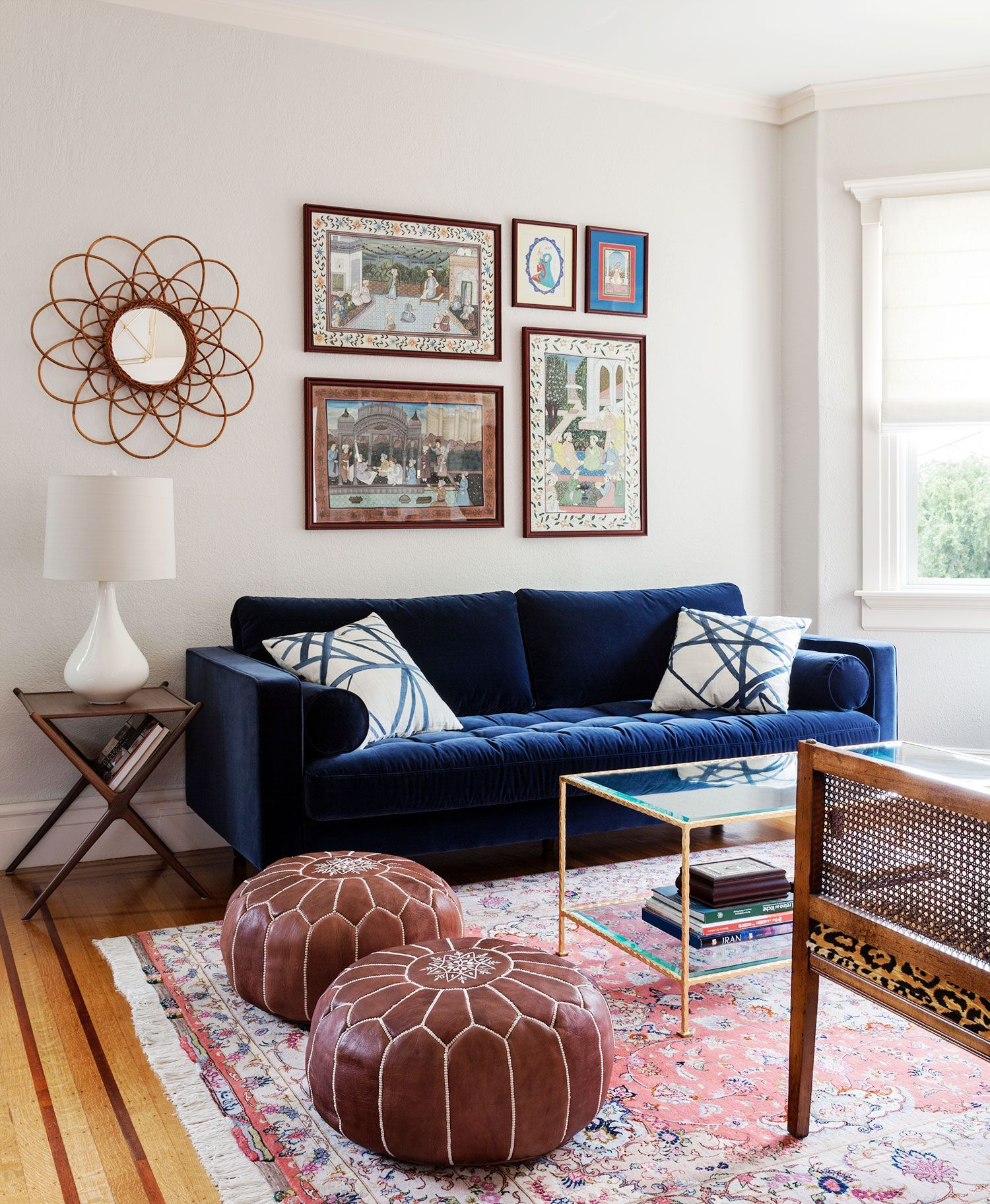 Blue Velvet Sofa Leopard Settee And Mostly Pink Rug Blue Sofa Living Blue Sofas Living Room Velvet Sofa Living Room