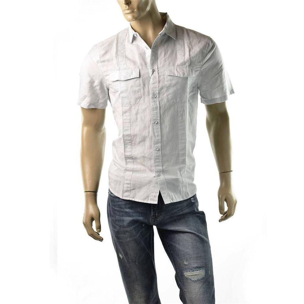 Armani Exchange Shirt Mens A|X Linen Utility Button Up Size L Shirts $68 NEW #AXArmaniExchange #ButtonFront  | Get Dressed at http://ImageStudio714.com http://stores.ebay.com/ImageStudio714
