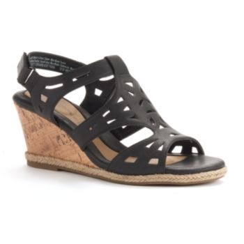 7d8b03cd245 Croft   Barrow Women s Ortholite Cork-Patterned Wedge Sandals ...