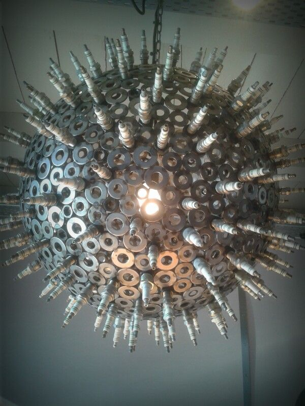 Really Cool Light Made With Spark Plugs Modern Industrial Art - Cool industrial style lamps made of washing machine parts