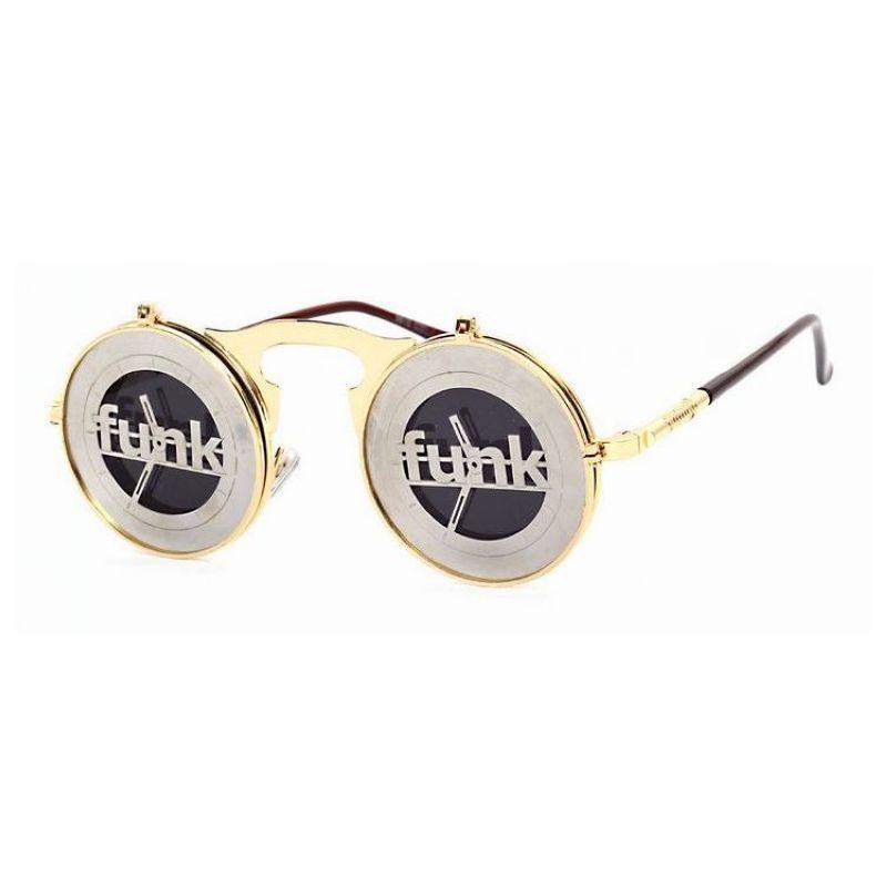 674153be370 Steampunk Funk Flip Up Round Metal Unisex Sunglasses Gold Frame Grey Lens
