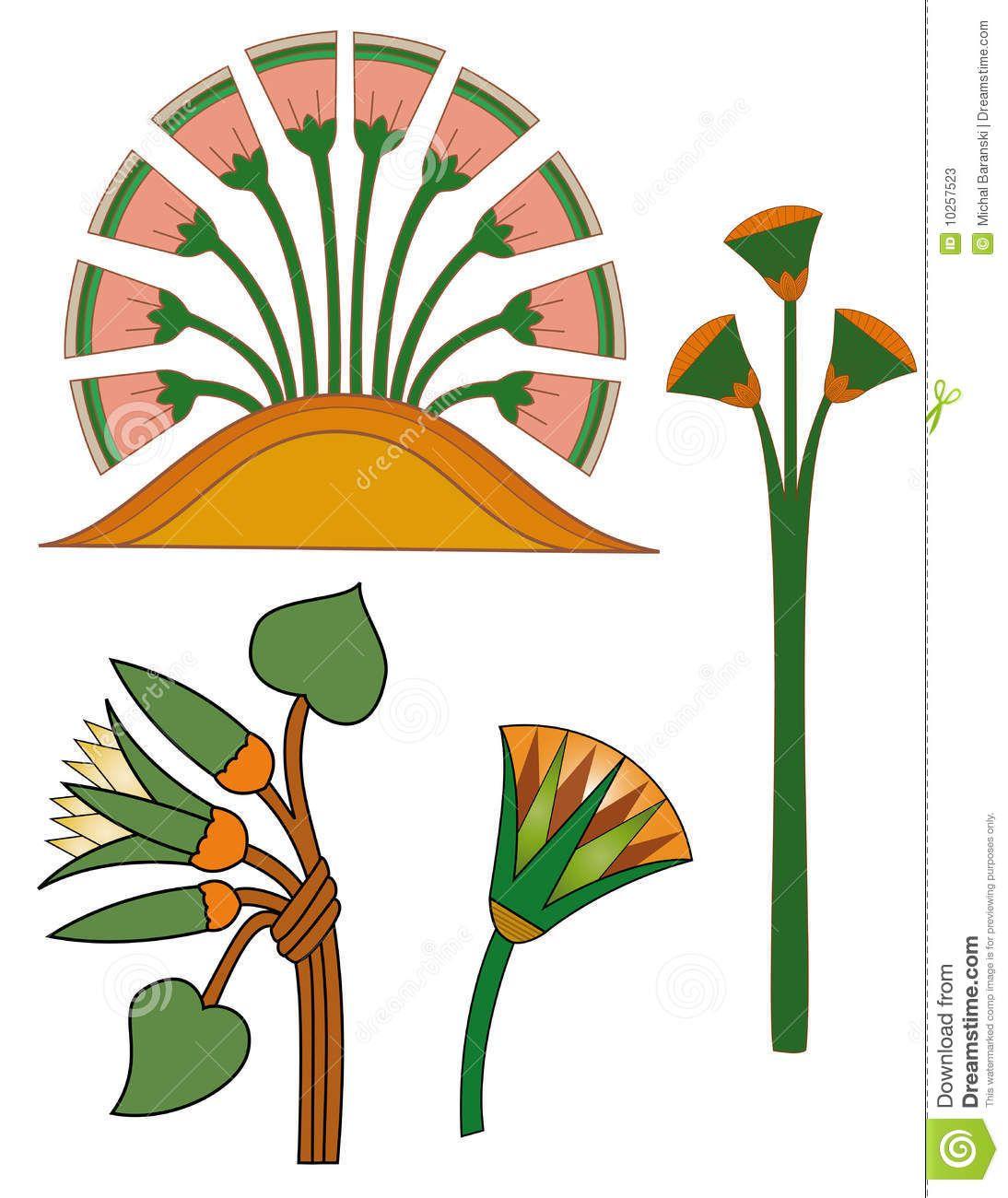 Egyptian flowers | Symbols | Pinterest | Malbücher